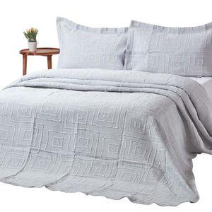 JETÉE DE LIT - BOUTIS Couvre-lit gris à motif géométrique spirale en rel