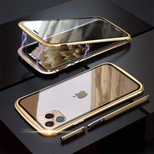 MetalMaster® Coque iphone 11 Pro,Métal Etui,Double face Verre trempé Cadre en métal magnétique Bumper
