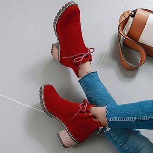 BOTTINE Mode Pure Color bout rond talons lacées Bottes Chu