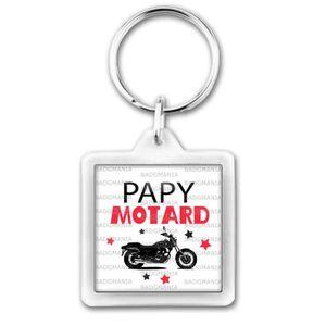 PORTE-CLÉS Porte-Clés Carré Plastique Papy Motard - Moto fond