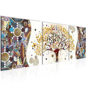 Runa Art Gustav Klimt Arbre De Vie Peinture Tableau Salon XXL Vert Abstrait Art 120 x 80 cm 3 Parties Decoracion Murale 004631b