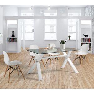 TABLE À MANGER SEULE Table de repas Verre - ZIGGY - L 150 x l 90 x H 75