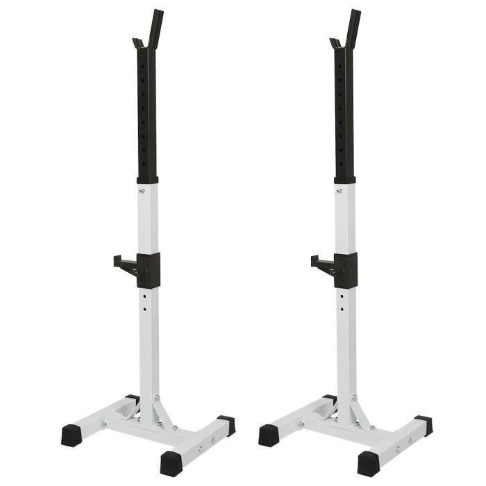 YUDAN RACK DE RANGEMENT SUPPORT Repose Barre Musculation Support pour Haltères Réglable en Hauteur 15 Positions Blanc