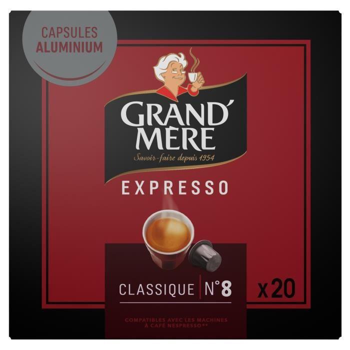 LOT DE 3 - GRAND MERE Expresso Classique Intensité 8 - 20 capsules de café Compatible Nespresso