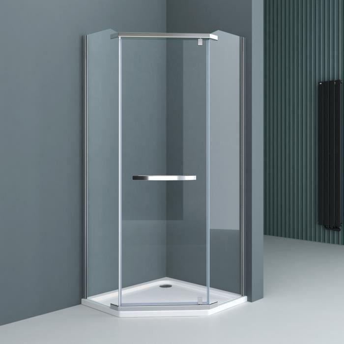 Paroi de douche pentagonale 100x100 Sogood Ravenna8 cabine de douche transparent en verre de sécurité 8mm avec revêtement NANO