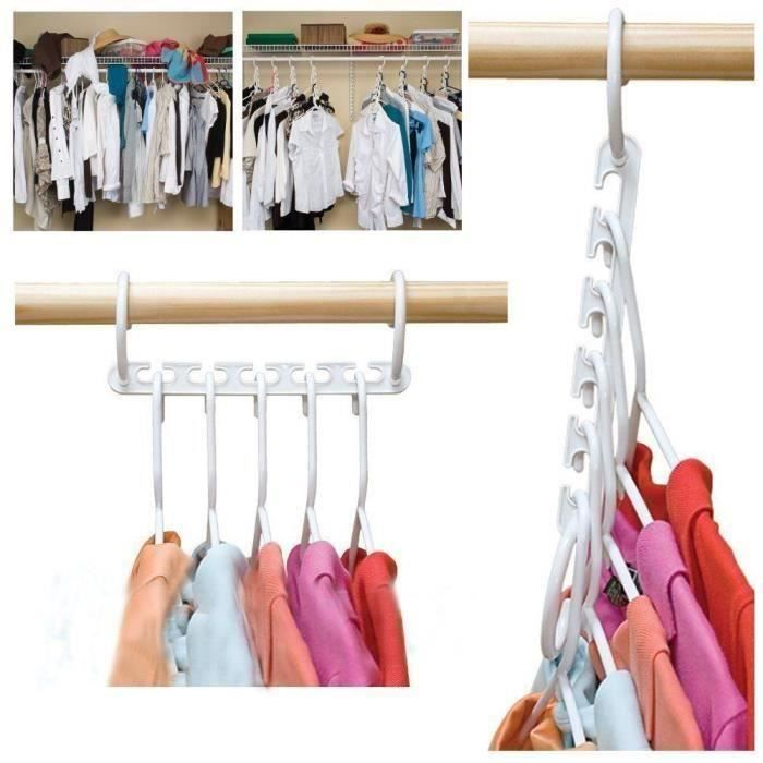 8PCS-Lot De Cintres Vêtements Nœud Crochet Gain d'espace Plastique SA23704