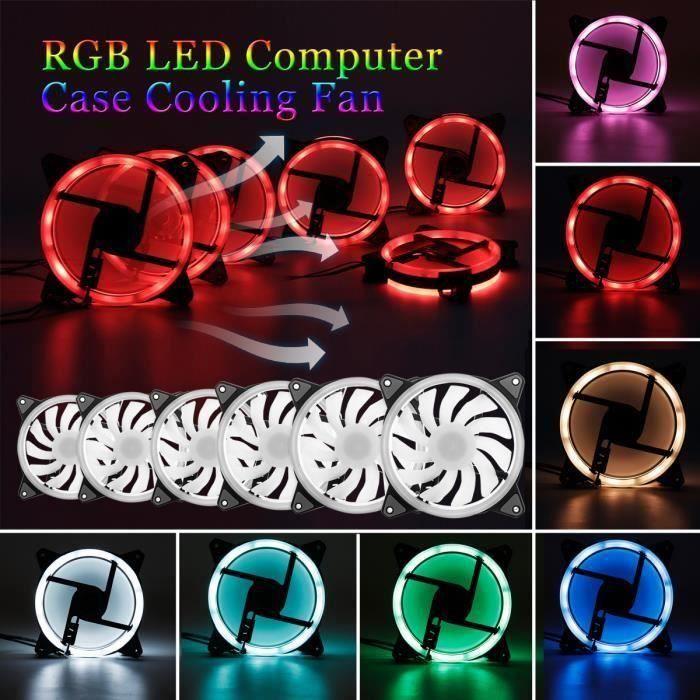 RGB LED Ventilateur Silencieux 120mm 7 Couleur Télécommande Pour Boîtier PC 6PCS Ventilateur At36274