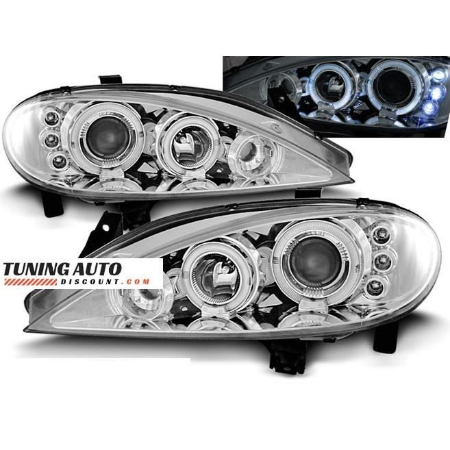 Phares avant Renault megane 03.99-10.02 angel eyes chrome