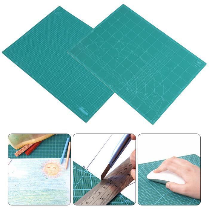 Plaque Tapis de coupe Tapis de découpe cutter - A3 quadrillage Imprimé Ligne Grille loisirs créatifs - Vert -JID