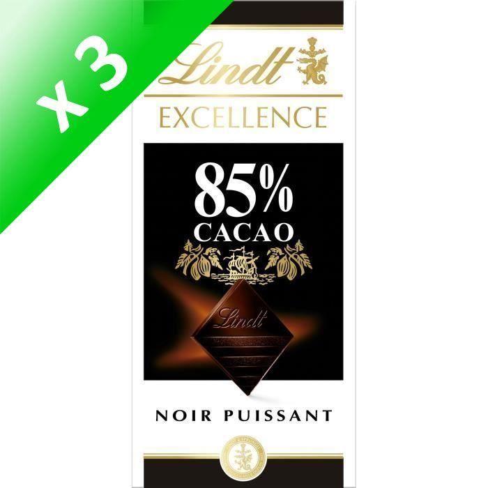 [LOT DE 3] LINDT Tablette chocolat noir - 85% cacao - 100 g