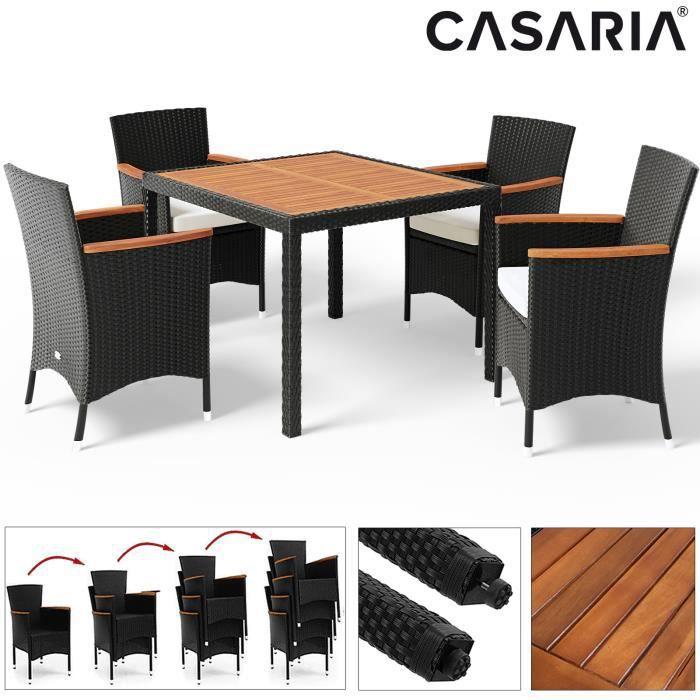 Salon de jardin en polyrotin noir Verona 4+1 table et chaises empilables coussins 7 cm ensemble de jardin meuble de jardin extérieur