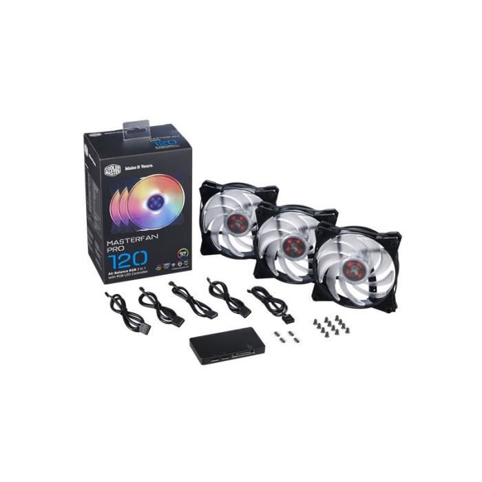 3 x Ventilateurs Cooler Master MasterFan Pro 120 AB RGB Pack (MFY-B2DC-133PC-R1)