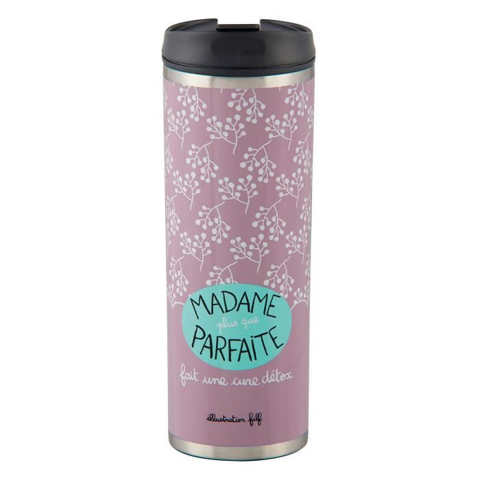 Mug de Voyage Isotherme MADAME PARFAITE Rose Bouteille Pour Boisson Café Bureau Idée Cadeau Humoristique Femme DLP Derrière La Porte