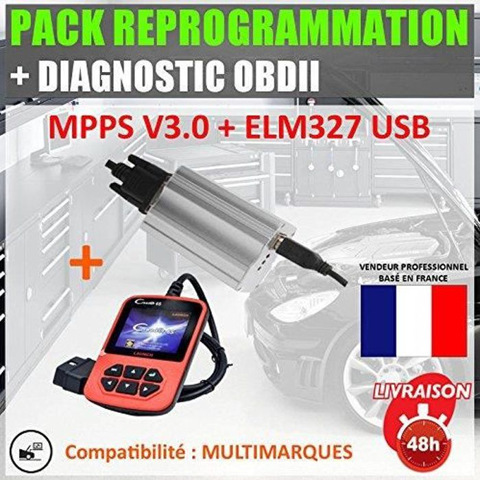 Mister Diagnostic® PACK REPROGRAMMATION + DIAG : LAUNCH CREADER 6 + MPPS V3.0 PRO Valise diagnostic