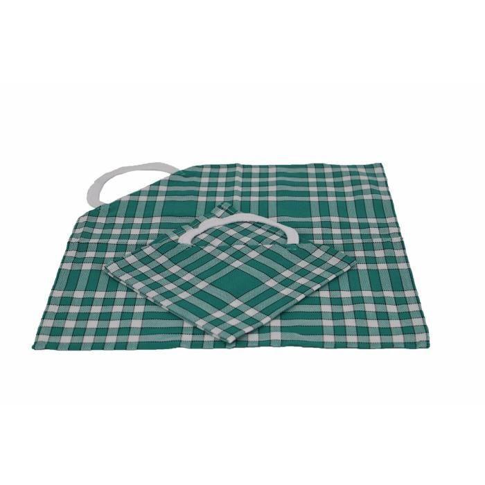 LINANDELLE - Lot de 2 bavoirs enfant coton carreaux vichy Normand CLEAN KID - Vert