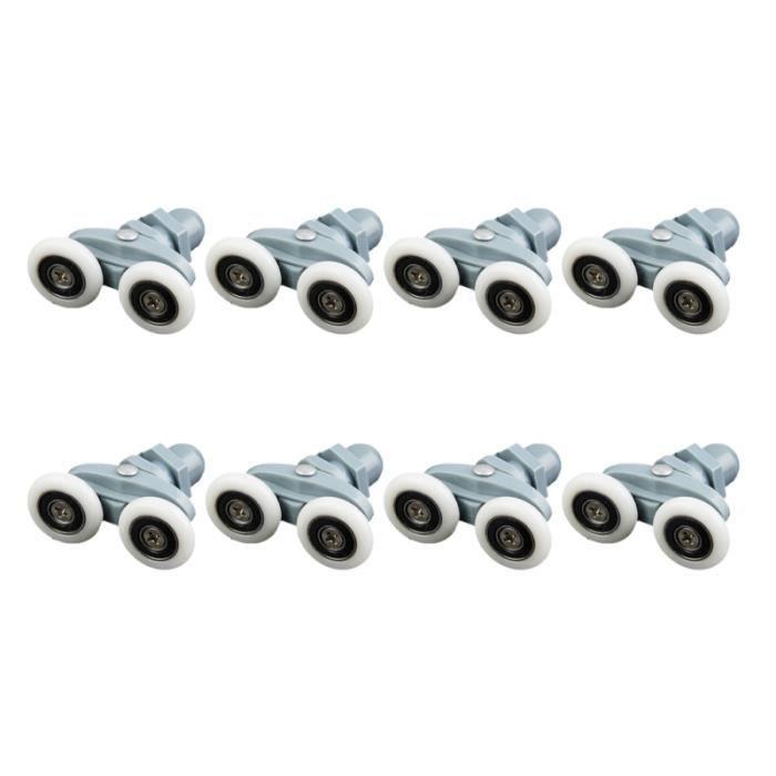 8 pièces roues de porte de douche boîtier de remplacement Double roue coulissante coureurs rouleaux poulies pour ROLLER IN LINE