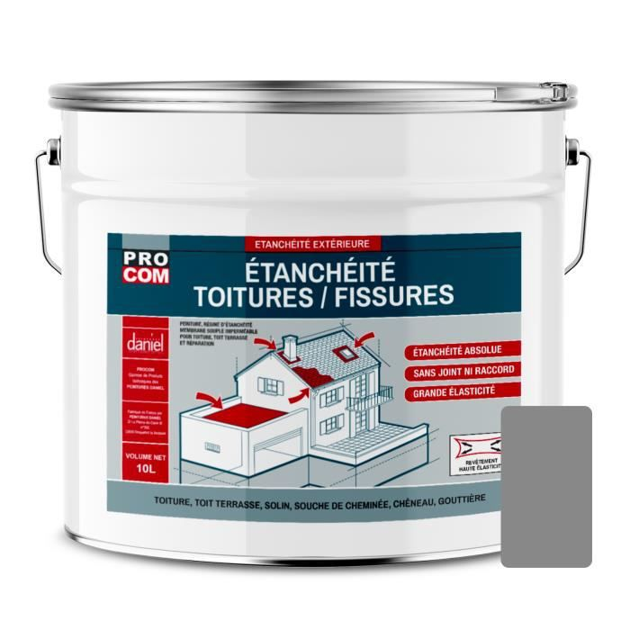 Peinture d'étanchéité pour toiture, réparation tuiles, fissures, anti-fuites, anti-mousse, décore et protège 10 litresGris Gris