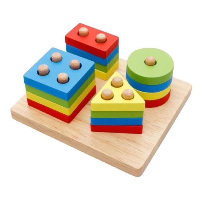 Puzzle de bloc de construction Structure en bois colorée éducative jouets blocs de pour enfants bébé tout-petits