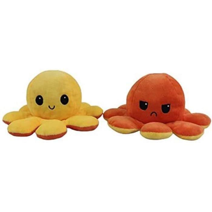 Jouet en Peluche de Poulpe Flip Double Face, Jouet en Peluche Lavable poupée réversible Doux Peluche Cadeau(Jaune + orange)