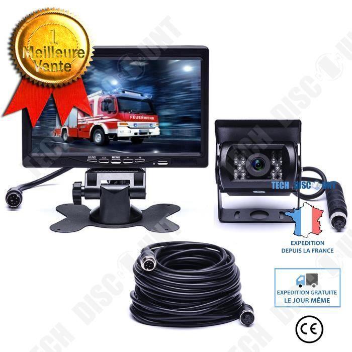 TD® Caméra recul filaire de sécurité 18 IR LED Vision Nocturne 7 - TFT LCD Moniteur pour RV-Bus-Trailer-Camion -Caravane (Câble d'Ex