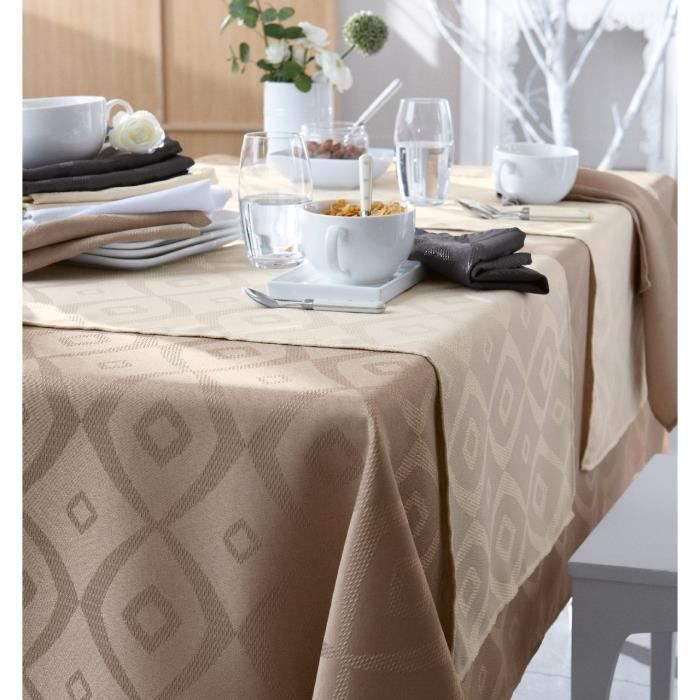Nappe polyester Brunch Taupe 180x300 ovale - Tradilinge