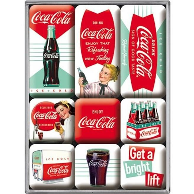 lot de 9 magnet coca cola pour frigo refrigerateur neuf deco utile achat vente objet. Black Bedroom Furniture Sets. Home Design Ideas