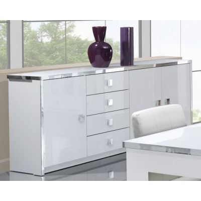bahut 3 portes 4 tiroirs laqu blanc et argent achat. Black Bedroom Furniture Sets. Home Design Ideas