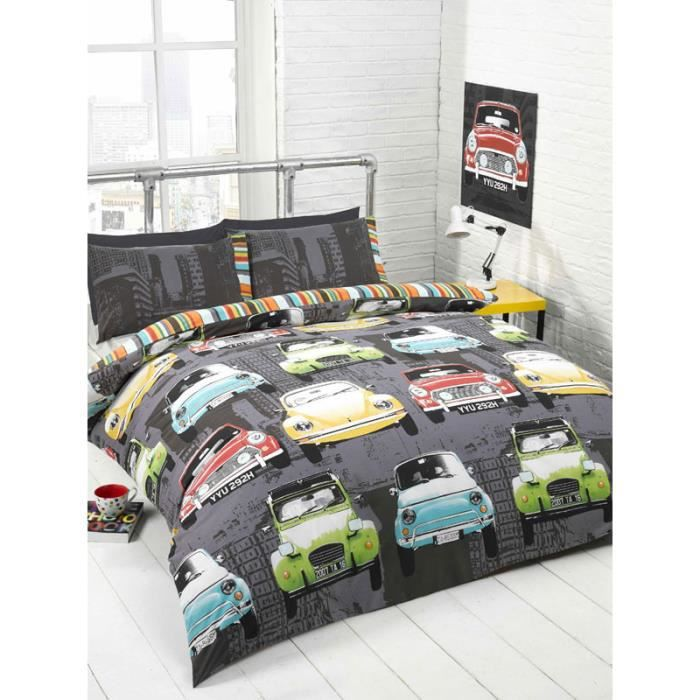 parure de couette voitures retro 2 personnes achat. Black Bedroom Furniture Sets. Home Design Ideas