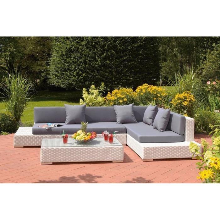 Ensemble table et chaise de jardin Grand salon de jardin d'angle en résine tressée ME