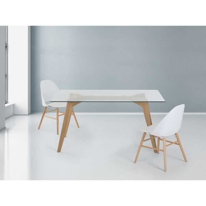 table de salle manger table en verre 160x90 cm hudson achat vente table manger. Black Bedroom Furniture Sets. Home Design Ideas