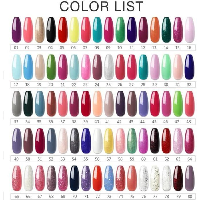 nail art lot de 80 couleurs vernis ongles kit vernis semi permanent de 10ml gel polish. Black Bedroom Furniture Sets. Home Design Ideas
