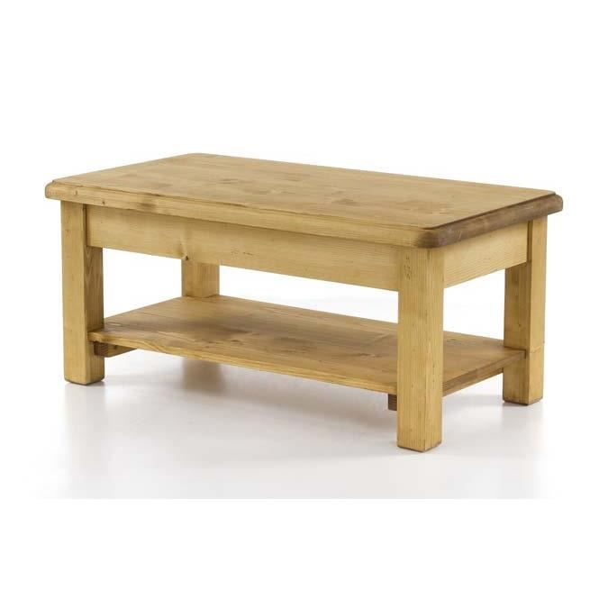 Table basse sapin massif 100 cm double plateau oregon achat vente table b - Plateau en pin massif ...