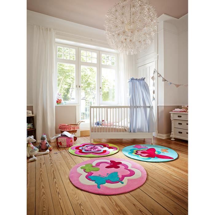 Tapis rond chambre fille FANTASY FLOWER rose 150x150, par Esprit, Tapis  pour enfant
