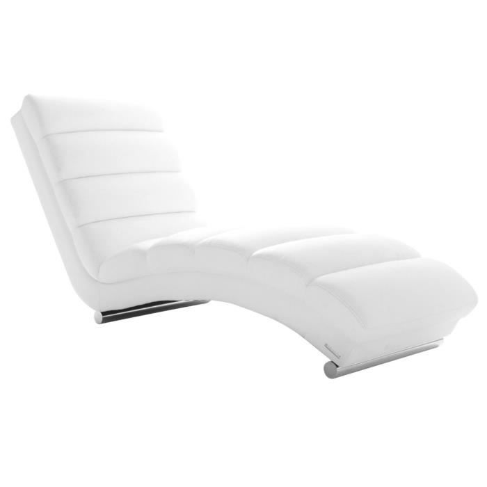 miliboo chaise longue fauteuil design blanc achat vente fauteuil blanc cdiscount. Black Bedroom Furniture Sets. Home Design Ideas