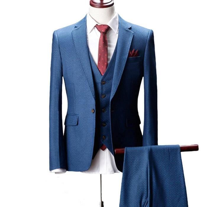 COSTUME - TAILLEUR Costume Homme 3 Pieces Mariage d'affaires Définit