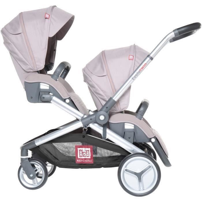 RED CASTLE Poussette Double Evolutwin - Taupe Taupe - Achat