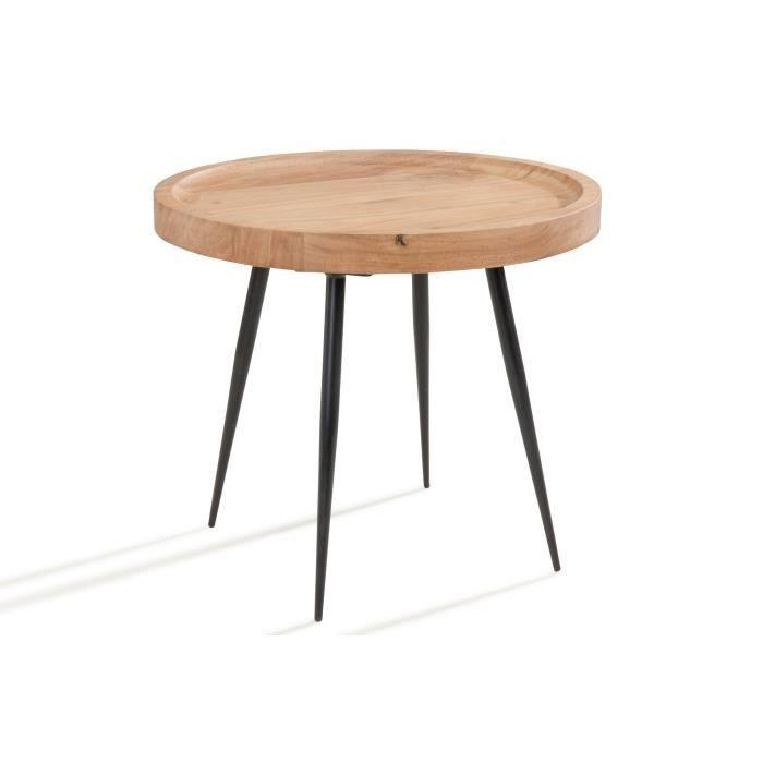 Vishal Table Basse Ronde Petite En Bois Avec Pieds En Metal Noir Achat Vente Table Basse Vishal Table Basse Ronde Cdiscount