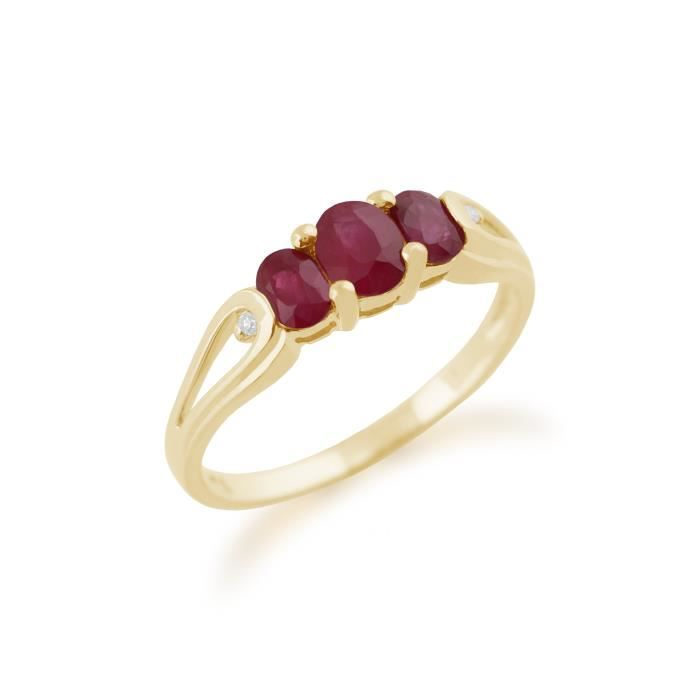 Gemondo Bague Or jaune 9 ct Rubis Rouge & Diamant