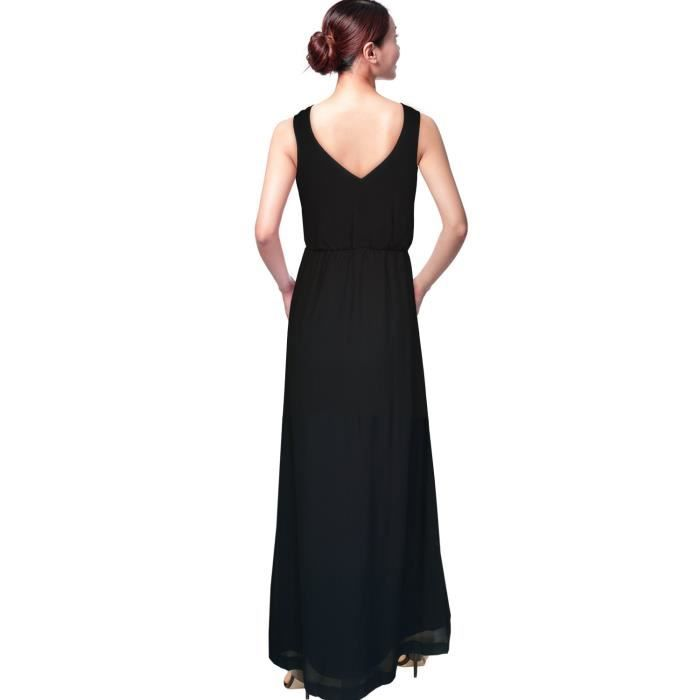 Womens Beforeafter Plain & Floral Print A-line Black Maxi Dress. M052A Taille-32