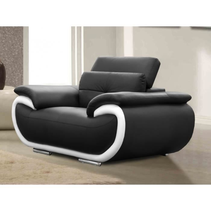fauteuil cuir smiley bicolore noir et blanc achat. Black Bedroom Furniture Sets. Home Design Ideas