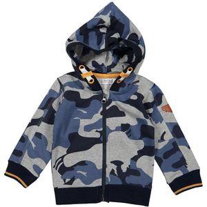 GILET - CARDIGAN DIRKJE Cardigan à Capuche Motif Camouflage Bleu Gr