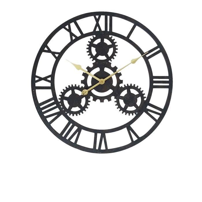 Horloge rouage murale en m tal 80 cm noir achat for Decoration murale en metal noir