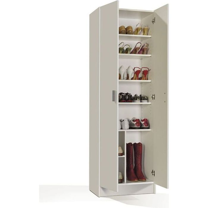 multiusos armoire chaussures blanc achat vente meuble chaussures multiusos armoire 2p. Black Bedroom Furniture Sets. Home Design Ideas