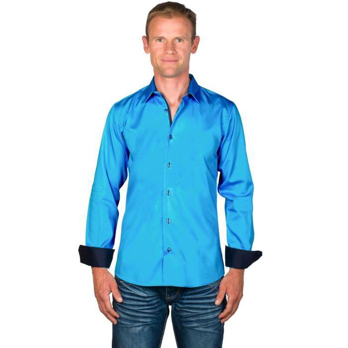 Meadrine Chemise Homme cintr/ée Turquoise Azur col 1 Bouton avec doublures Carreaux Noir-Azur