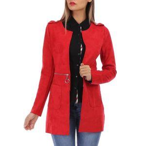 VESTE Veste en suédine rouge à longueur ajustable
