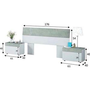 CHEVET Tete de lit avec 2 tables de chevet coloris Blanc