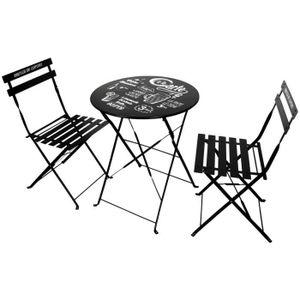Ensemble table et chaise de jardin Set Ensemble Terrasse De Bistrot Table En Métal De