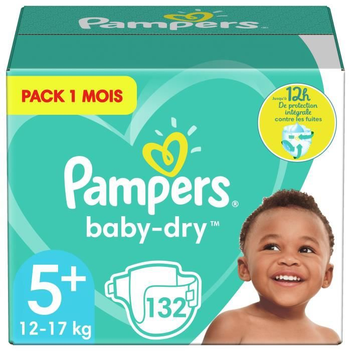 COUCHE PAMPERS Baby Dry Taille 5+ - 12 à 17kg - 132 couch