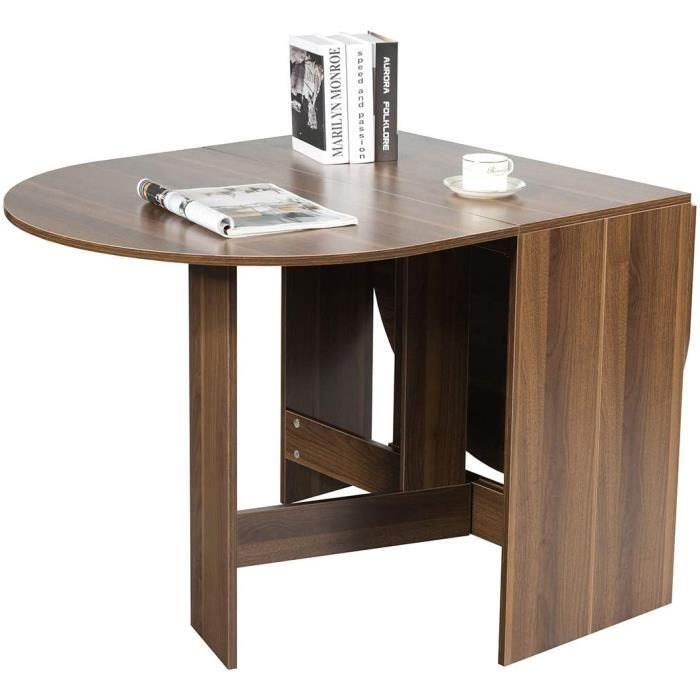Costway Table de Salle Manger PliableTable Multifonctions en BoisCharge Maximale 60KG avec Plateau Rond Ovale pour Maison Mo[728]