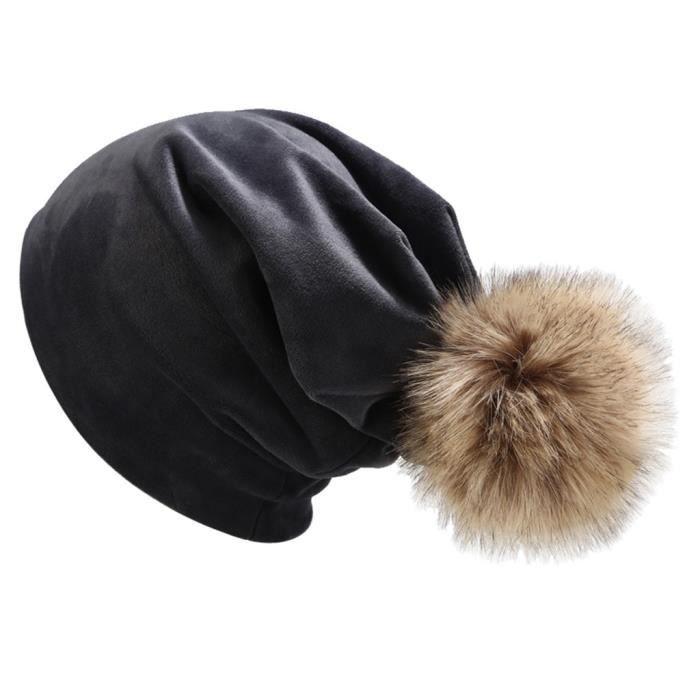 Femmes hiver en duvet d'oie casquette de couleur unie casquette décontractée cache-oreilles LTA90812081GY_Leshaishu